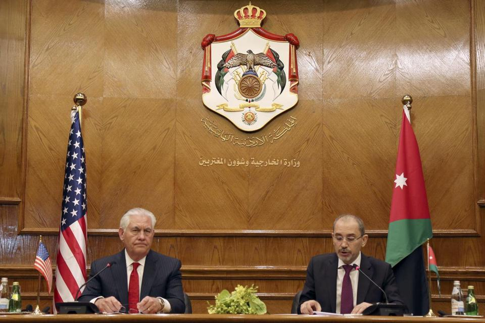 US Secretary of State Rex Tillerson and Jordanian Foreign Minister Ayman Safadi signed agreements in Amman Jordan on Wednesday despite repeated threats from the United States to punish countries that don't agree with its policy in the Middl