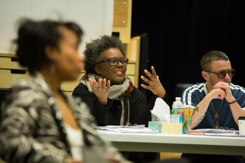 "Playwright Claudia Rankine and dramaturg P. Carl at a rehearsal for her new play ""The White Card."""