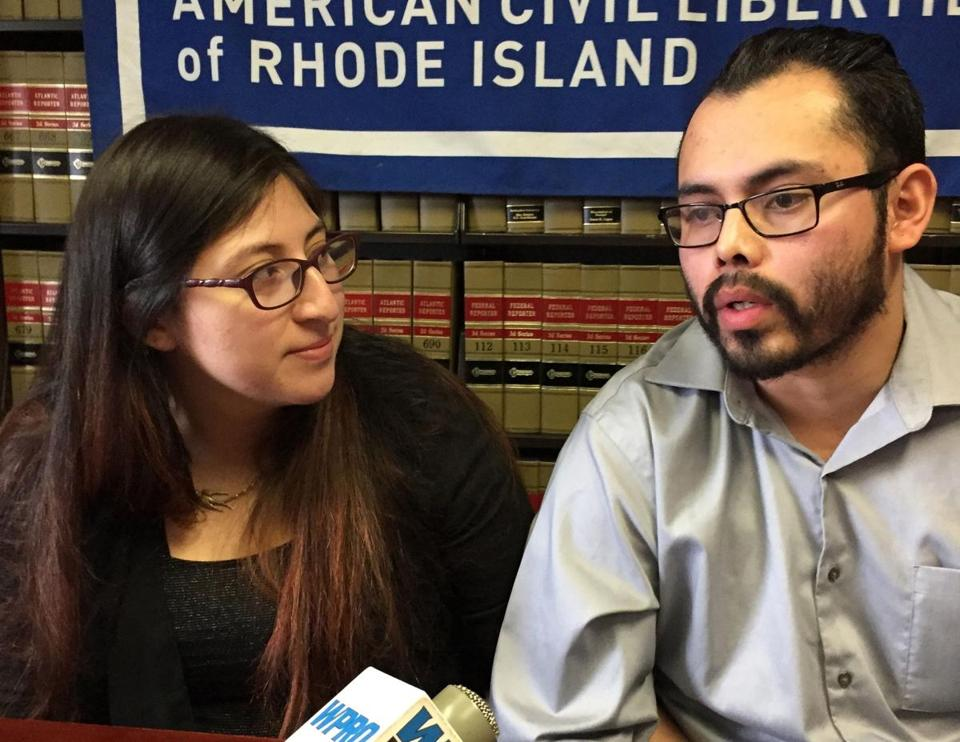 Lilian Pahola Calderon Jimenez and her husband, Luis Gordillo, spoke at a press conference in Providence on Feb. 14.
