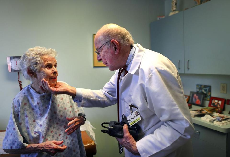 "Fred Ernesti, 88, gently cupped the chin of his longtime patient Emma Odenweller as he said goodbye after attending to her in his office. ""He tells you the truth,'' Odenweller said. ""And if I don't like it, I can answer back. He's very honest. You can get mad at him. But we're still friends.''"