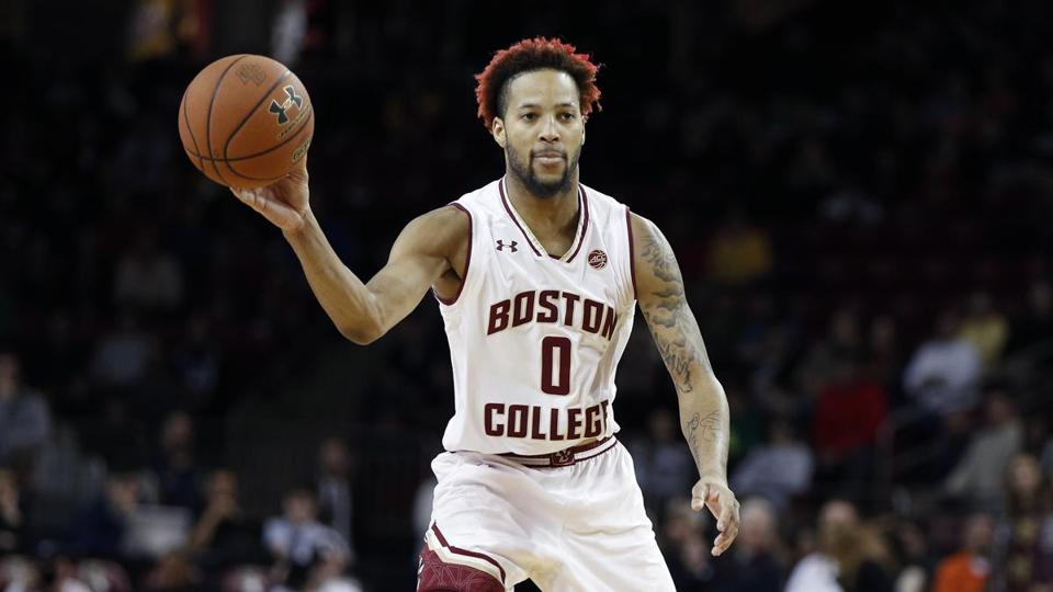 Boston College's Ky Bowman looks to pass during the first half of an NCAA college basketball game against Notre Dame in Boston, Saturday, Feb. 17, 2018. (AP Photo/Michael Dwyer)