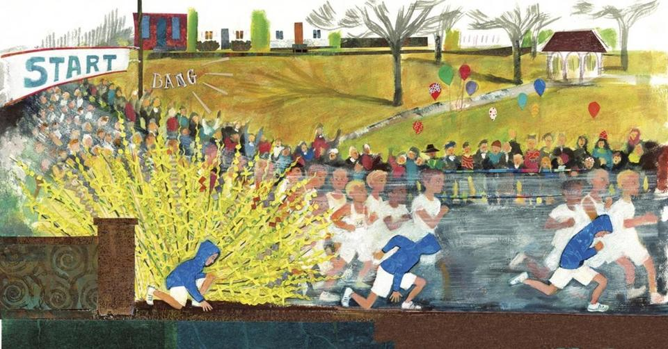 "An illustration by Micha Archer from ""Girl Running,"" the story of Bobbi Gibb, the first woman to run the Boston Marathon."