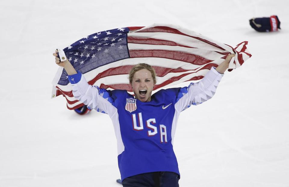 Jocelyne Lamoureux-Davidson (17), of the United States, celebrates after winning against Canada in the women's gold medal hockey game at the 2018 Winter Olympics in Gangneung, South Korea, Thursday, Feb. 22, 2018. (AP Photo/Matt Slocum)