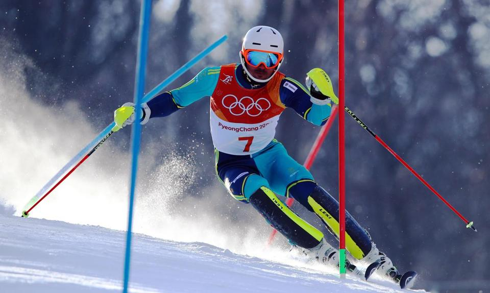 SOUTH KOREA OUT Mandatory Credit: Photo by YONHAP/EPA-EFE/REX/Shutterstock (9434462b) Andre Myhrer of Sweden in action during the Men's Slalom at the Yongpyong Alpine Centre during the PyeongChang 2018 Olympic Games, South Korea, 22 February 2018. Alpine Skiing - PyeongChang 2018 Olympic Games, Daegwallyeong-Myeon, Korea - 22 Feb 2018