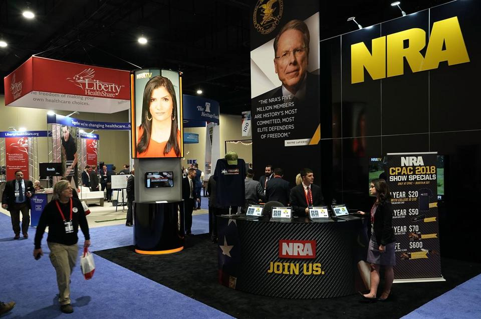 NATIONAL HARBOR, MD - FEBRUARY 22: The booth of National Rifle Association (NRA) is seen during CPAC 2018 February 22, 2018 in National Harbor, Maryland. The American Conservative Union hosted its annual Conservative Political Action Conference to discuss conservative agenda. (Photo by Alex Wong/Getty Images)