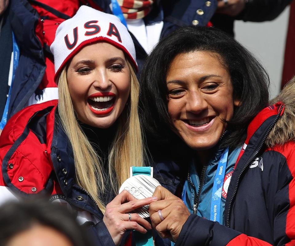 PYEONGCHANG-GUN, SOUTH KOREA - FEBRUARY 25: Ivanka Trump and Elana Meyers Taylor pose for photographs during the 4-man Boblseigh heats on day sixteen of the PyeongChang 2018 Winter Olympic Games at Olympic Sliding Centre on February 25, 2018 in Pyeongchang-gun, South Korea. (Photo by Sean M. Haffey/Getty Images)