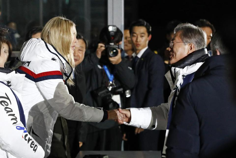 PYEONGCHANG-GUN, SOUTH KOREA - FEBRUARY 25: Ivanka Trump, left, daughter of U.S. President Donald Trump, shakes hands with South Korean President Moon Jae-in at the closing ceremony of the 2018 Winter Olympics at PyeongChang Olympic Stadium on February 25, 2018 in Pyeongchang-gun, South Korea. (Photo by Patrick Semansky - Pool /Getty Images)