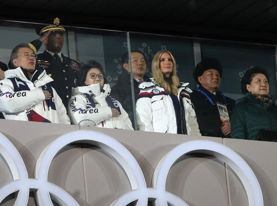 Mandatory Credit: Photo by FAZRY ISMAIL/EPA-EFE/REX/Shutterstock (9437274kw) South Korean President Moon Jae-in (L), South Korea's first lady Kim Jung-sook (2nd L), Ivanka Trump (3rd R), daughter and senior advisor of US President Donald J. Trump, and Kim Yong-chol (2nd R), vice-chairman of the ruling Workers? party?s central committee, arrive for the the Closing Ceremony of the PyeongChang 2018 Olympic Games, Pyeongchang county, South Korea, 25 February 2018. Closing Ceremony - PyeongChang 2018 Olympic Games, Daegwallyeong-Myeon, Korea - 25 Feb 2018