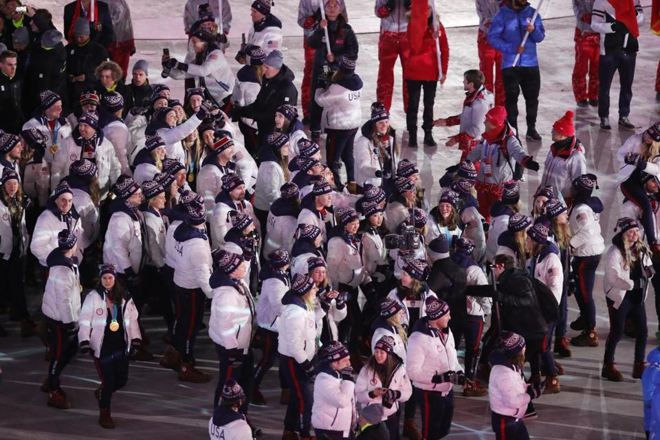 PYEONGCHANG-GUN, SOUTH KOREA - FEBRUARY 25: Team USA walk in the Parade of Athletes during the Closing Ceremony of the PyeongChang 2018 Winter Olympic Games at PyeongChang Olympic Stadium on February 25, 2018 in Pyeongchang-gun, South Korea. (Photo by Andreas Rentz/Getty Images)