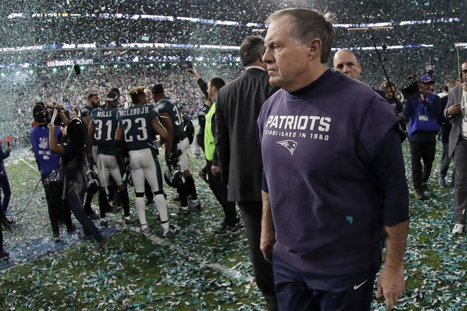 New England Patriots head coach Bill Belichick walks off the field after the NFL Super Bowl 52 football game against the Philadelphia Eagles Sunday, Feb. 4, 2018, in Minneapolis. The Eagles won 41-33. (AP Photo/Mark Humphrey)