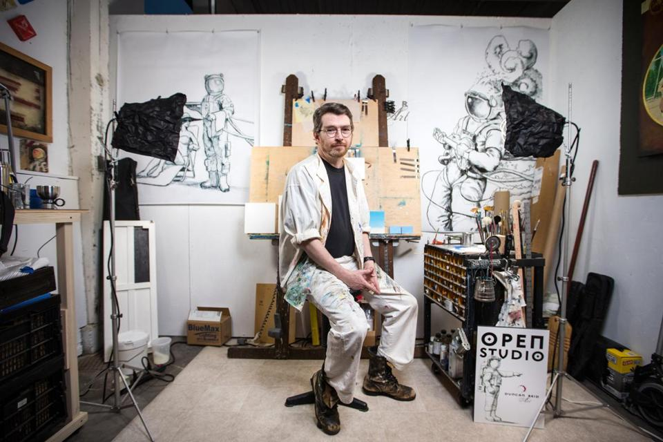 02/25/2018 NORWOOD, MA Artist Duncan Reid (cq) poses for a photo in his space at the Norwood Space Center. (Aram Boghosian for The Boston Globe)