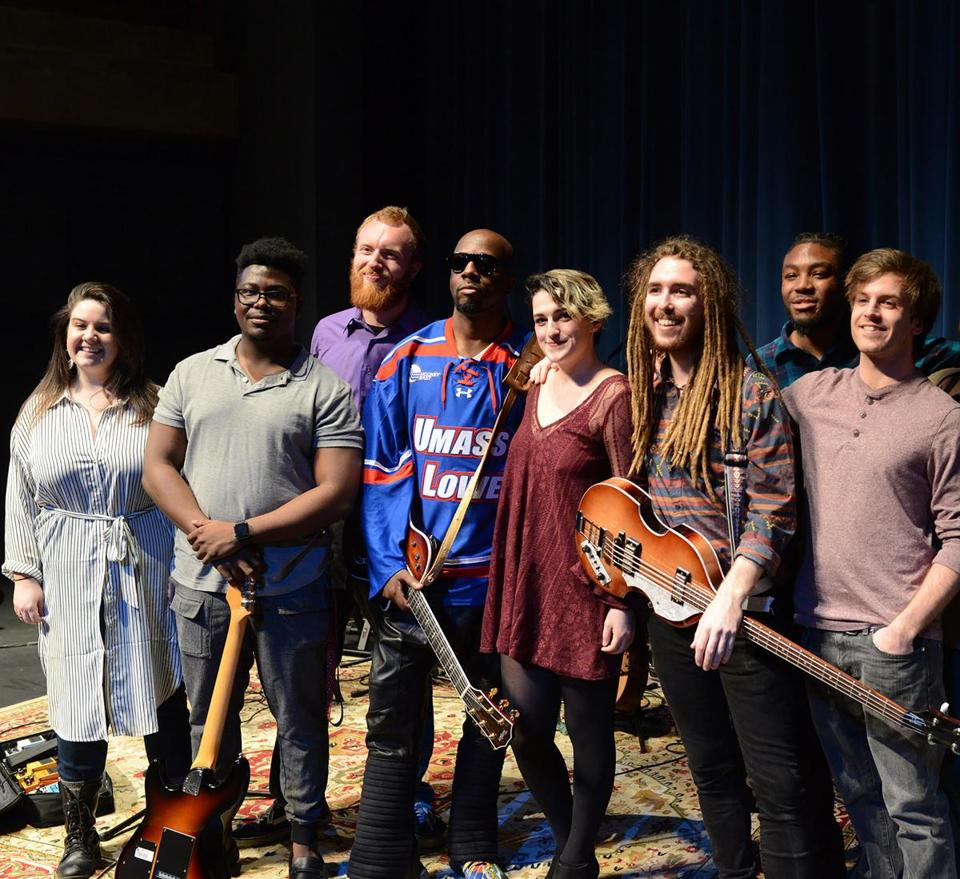 Wyclef Jean (center) with (from left) Rachel Driscoll of his management team, Daniel Prophete, Leighton Moylan, Meg Kelly, Alex Jones, Shane Alexander, and Aaron Foy.