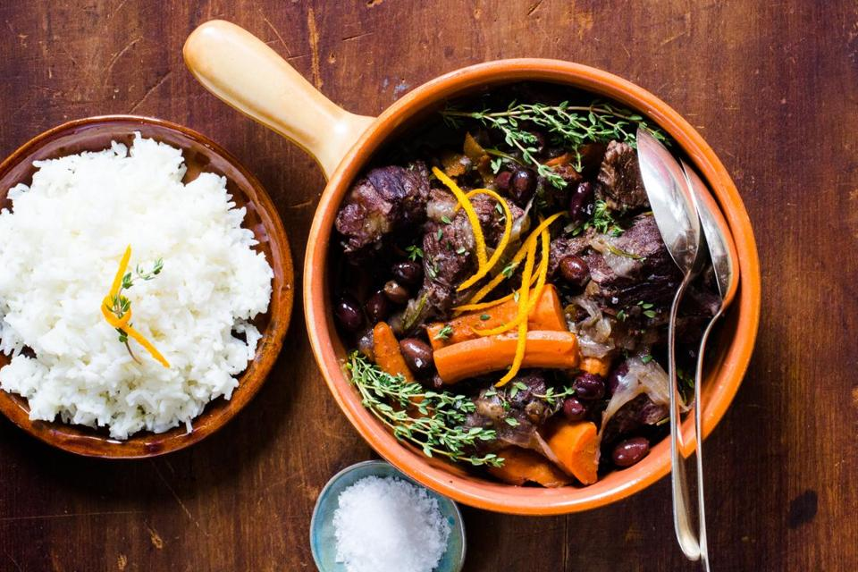 Provençal beef stew with red wine, olives, and orange (Gardiane de Taureau)