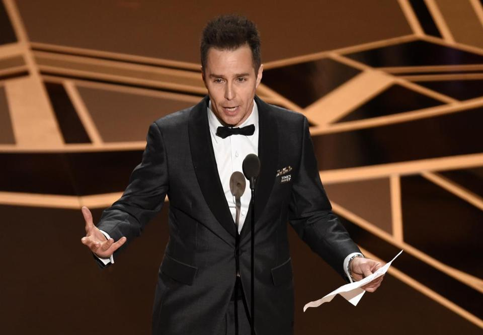 "Sam Rockwell accepts the Oscar for best performance by an actor in a supporting role for ""Three Billboards Outside Ebbing, Missouri."""