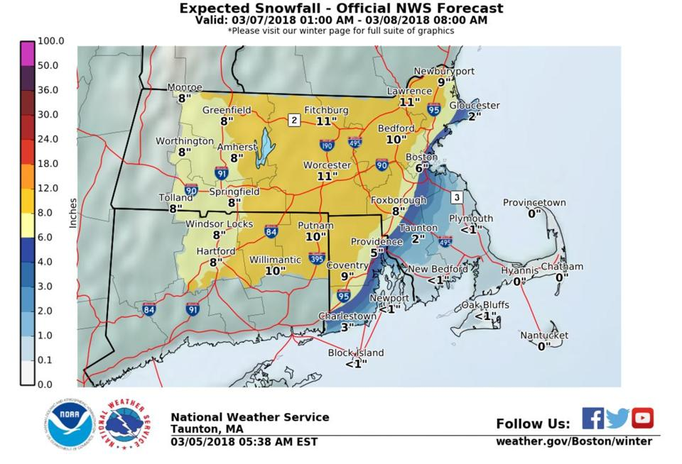 Winter storm warnings issued for Wednesday storm