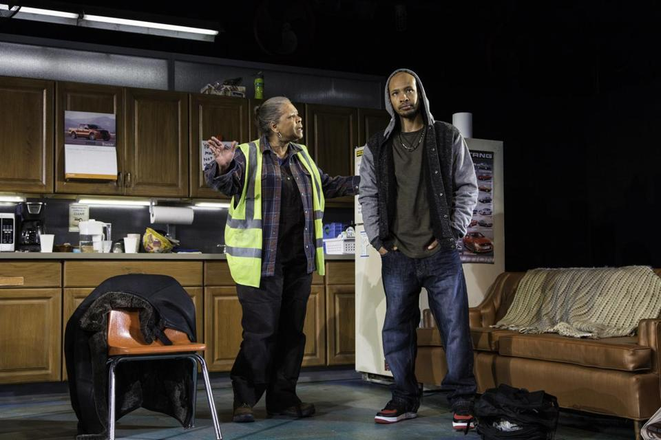 "Patricia R. Floyd and Jonathan Louis Dent in the Huntington Theatre Company production of ""Skeleton Crew."""