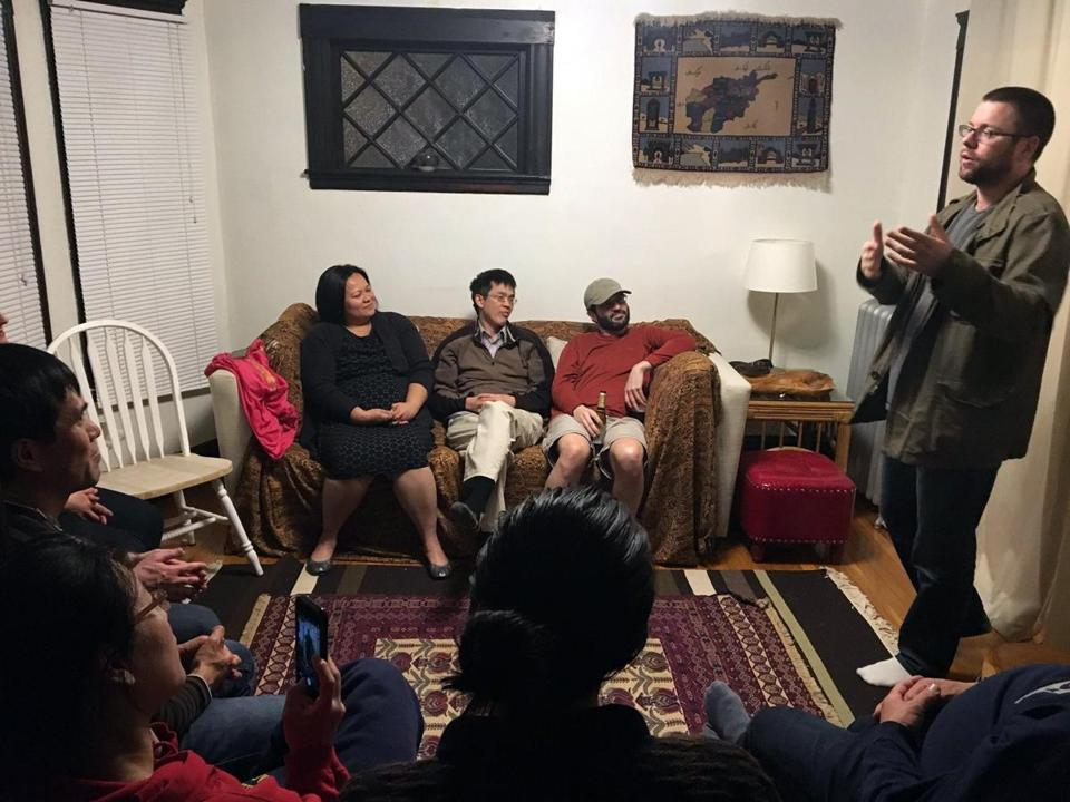 Participants attend a StorySlam! gathering last April.