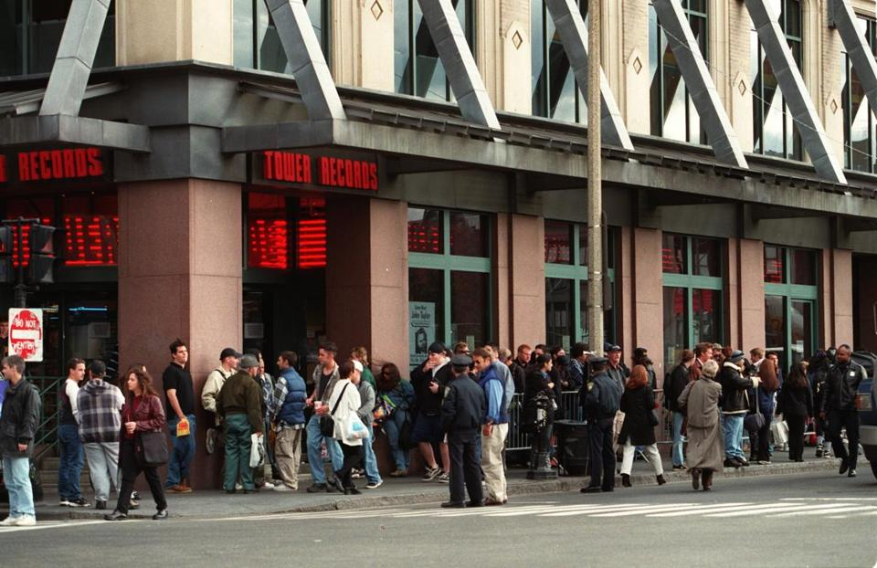 Dozens of fans lined up at Tower Records in Boston to meet members of Black Sabbath in the store, the chain's largest.