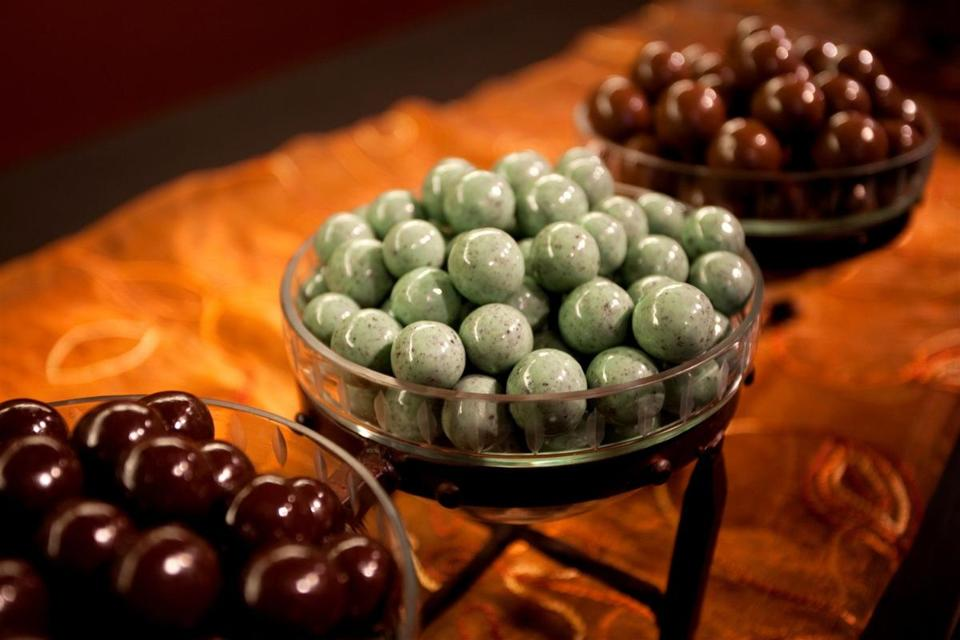 Complimentary snacks in the communal living rooms include bowls of gourmet malted milk balls.