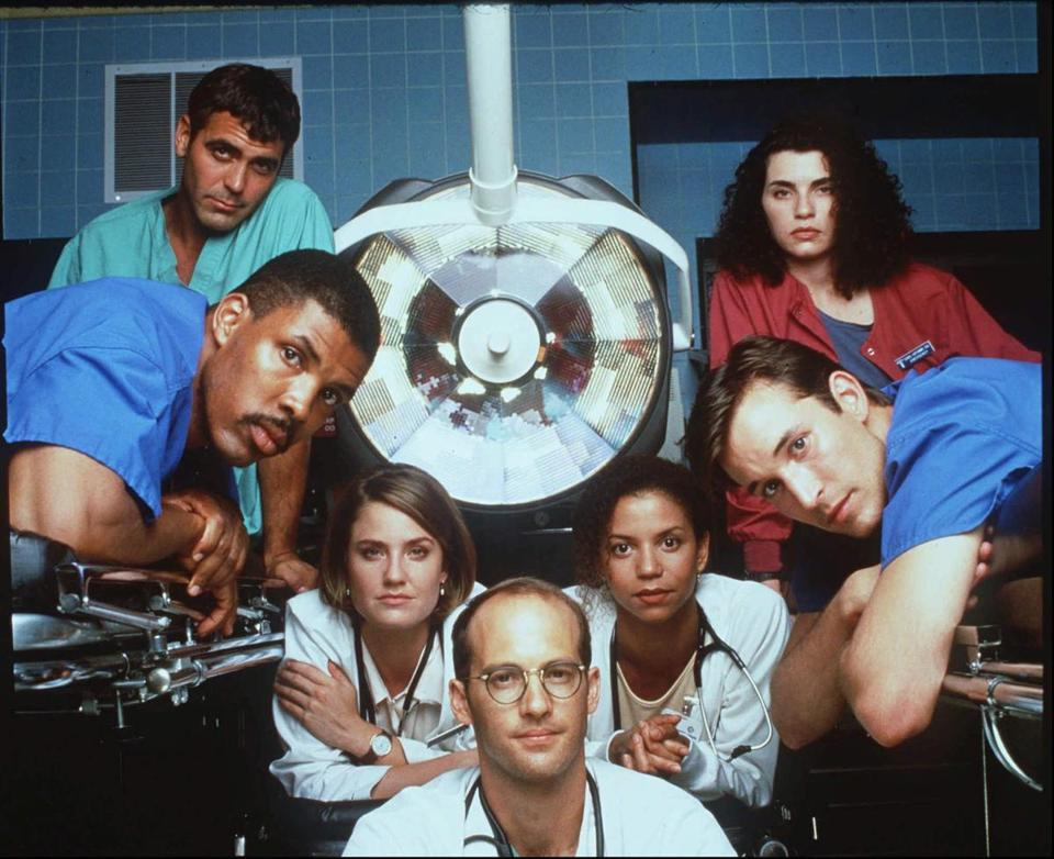 "The cast of ""ER"" in the second season (from left): George Clooney, Eriq La Salle, Sherry Stringfield, Anthony Edwards, Gloria Reuben, Noah Wyle, and Julianna Margulies."