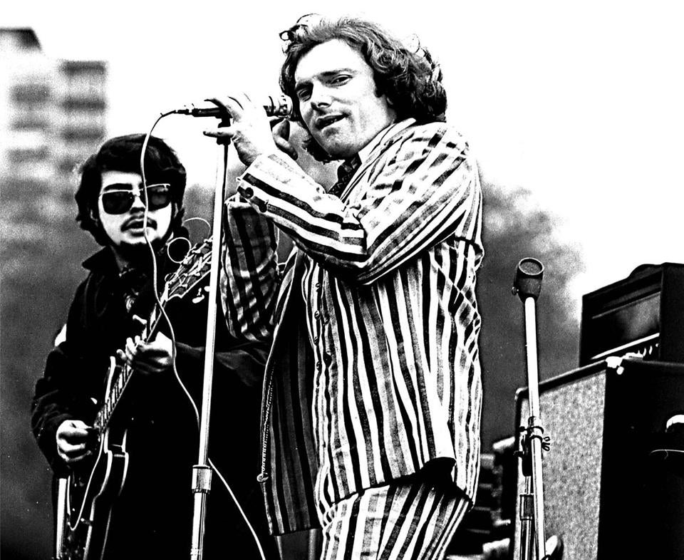 CROPPED VERSION. 04AstralWeeks Images from Astral Weeks by Ryan Walsh. 17. Van Morrison, smiling, confident, and clad in a striped suit. Spring Sing on Boston Common, April 20, 1968.