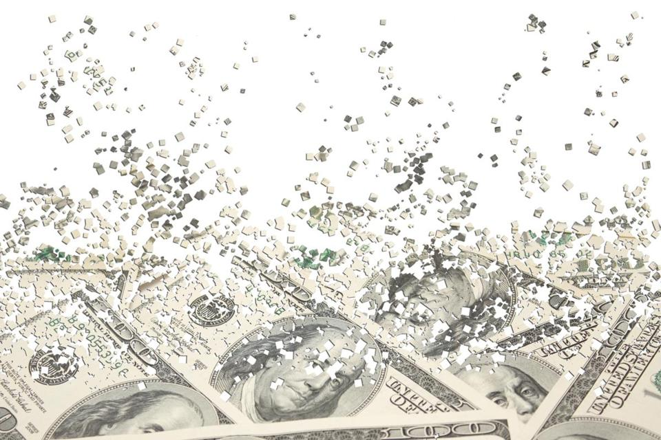 Background from a scattering particles with the image of dollars