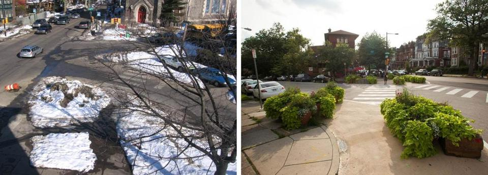 FOR ONLINE ONLY 17sneckdowns -- Philadelphia has since redesigned the intersection of Baltimore Avenue, Florence Avenue, and S. 48th Street to reserve more space for pedestrians in spots that drivers weren't regularly using. (University City District)