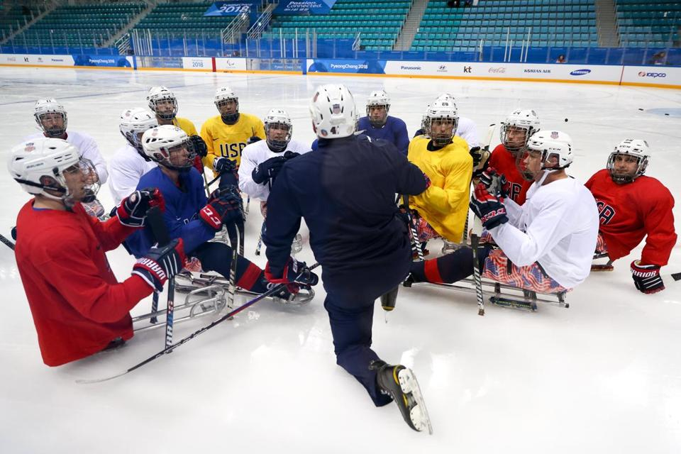 The US men's sled hockey team plays its first game on Sunday vs. Japan.