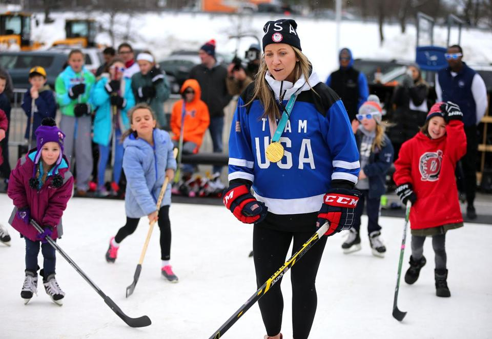 Olympic gold medalist Meghan Duggan  put on a hockey clinic for kids in the Big Y parking lot in Saugus.