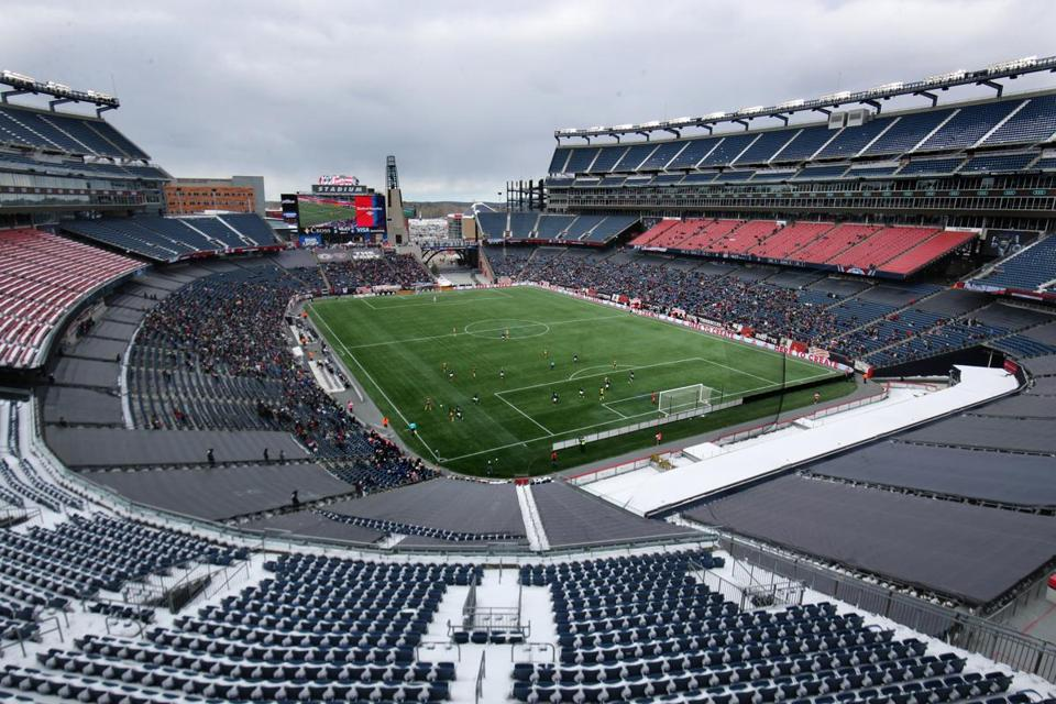 Foxborough MA 03/10/18 New England Revolution opening day against the Colorado Rapids at the start of the second half of MLS Soccer at Gillette Stadium. (Matthew J. Lee/Globe staff) topic: Rapids-Revo pics reporter: