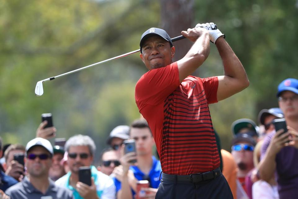 PALM HARBOR, FL - MARCH 11: Tiger Woods plays his shot from the second tee during the final round of the Valspar Championship at Innisbrook Resort Copperhead Course on March 11, 2018 in Palm Harbor, Florida. (Photo by Sam Greenwood/Getty Images)
