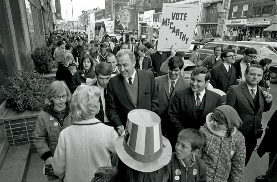 America's youth rallied in 1968 to propel the presidential campaign of US Senator Eugene McCarthy, the Minnesota Democrat. Above: McCarthy campaigned in Manchester, N.H., before the state's primary.