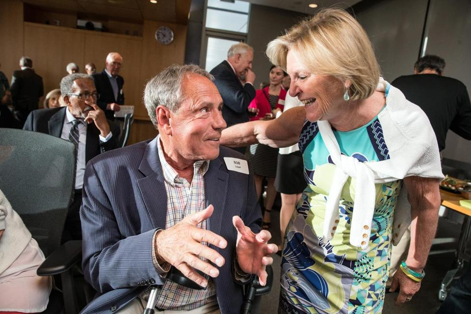 Bob Lobel (left) and WGBH's Emily Rooney during a June 2017 event.