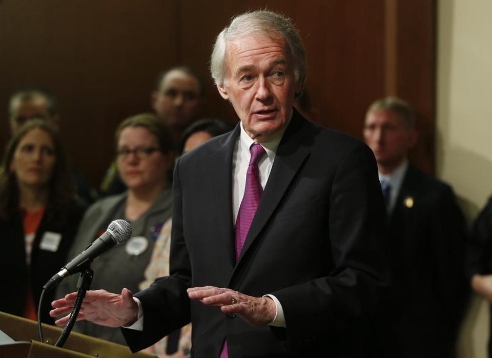 US Senator Ed Markey spoke during Monday in Boston during a news conference to announce new federal gun safety legislation.