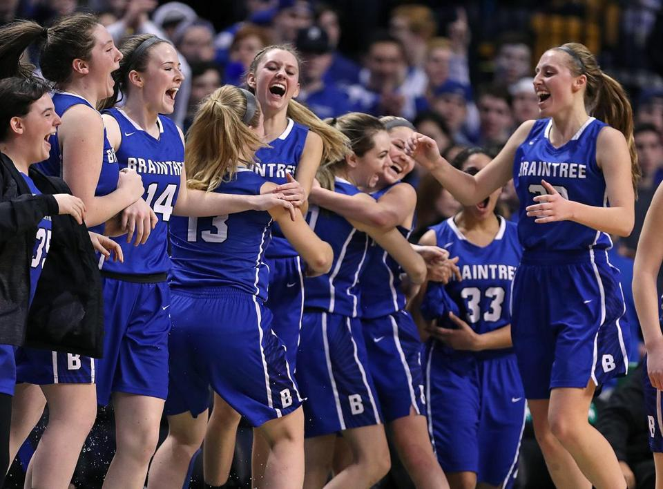 Boston, MA: 3/12/2018: Braintree players erupt as the final buzzer sounds in their victory over Central Catholic. Braintree met Central Catholic in the girl's division one state semi final high school basketball game at theTD Garden. (Jim Davis/Globe Staff)