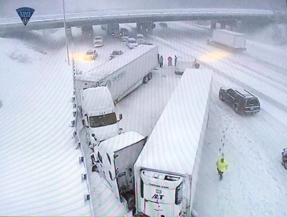 A tractor-trailer crash.