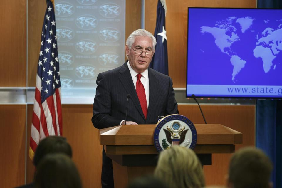 Rex Tillerson delivered remarks Tuesday after he was fired as secretary of state.