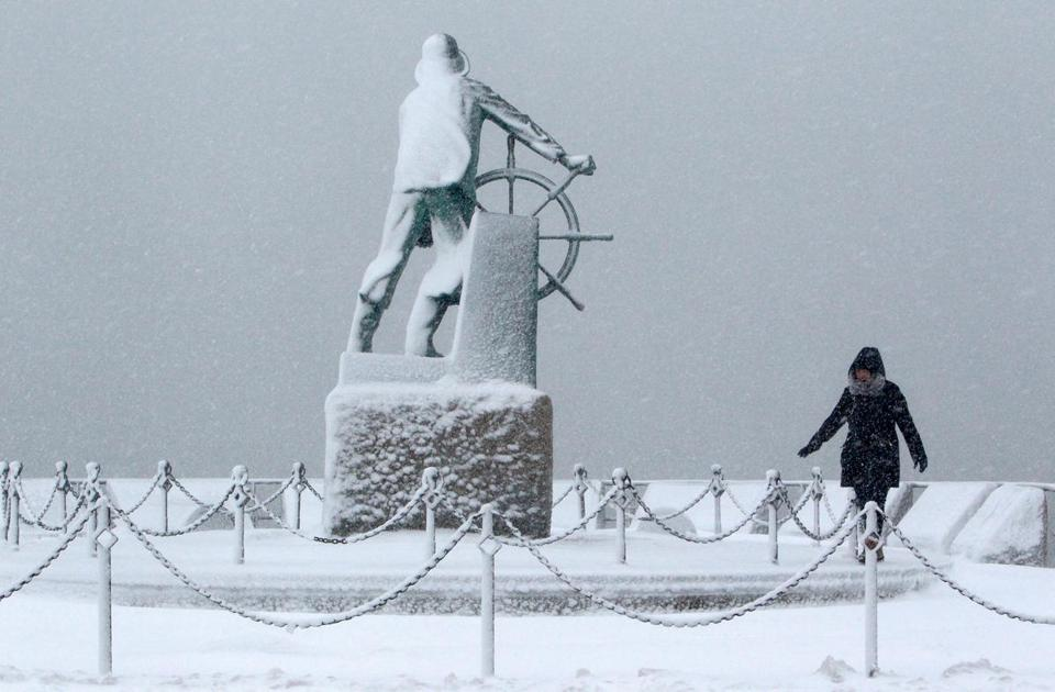 Linda Giovanni took her daily walk next to the Fishermen's Memorial in Gloucester.