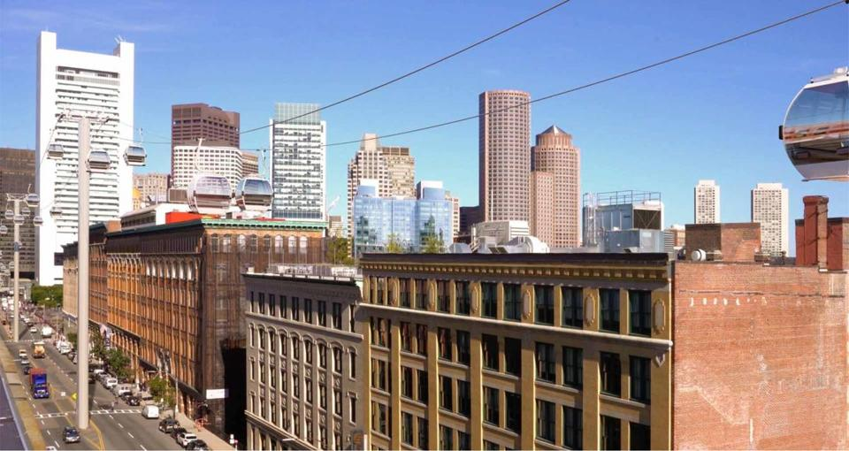 A rendering of the view over Summer Street for the proposed South Boston Cableway project.