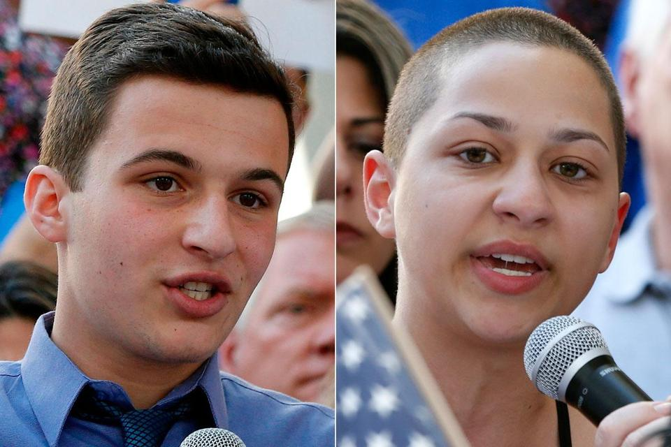 Marjory Stoneman Douglas High School students Cameron Kasky (left) and Emma Gonzalez will speak at Harvard University next week.