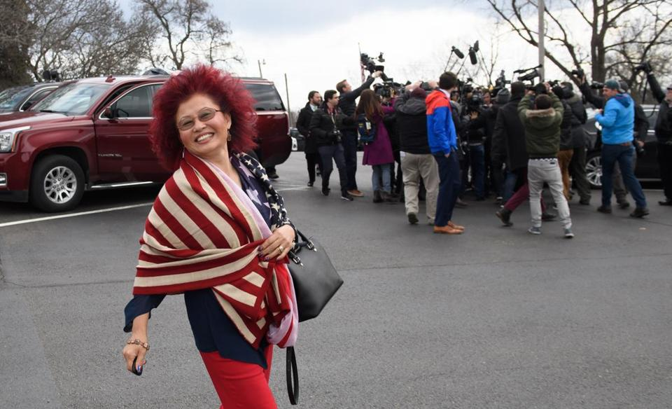Hong Saccone, wife of Republican Rick Saccone, walked to her car after voting in Tuesday's special election.