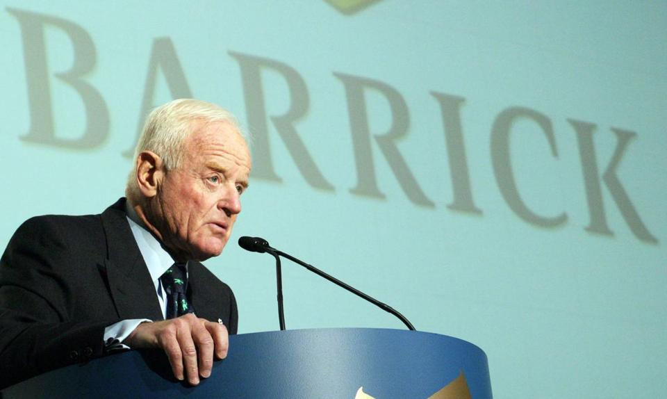 Barrick Gold Chairman Peter Munk speaks to shareholders at the company's annual general meeting in Toronto, Ontario, Canada, on April 22, 2004. Munk has died at 90. MUST CREDIT: Norm Betts/Bloomberg News