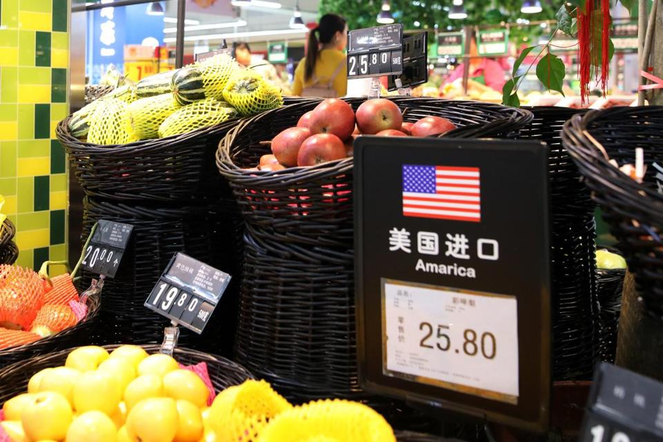 US fruit was on display in a supermarket in Beijing on Monday. China imposed tariffs on a selection of US goods Monday in response to President Trump's tariffs on steel and aluminum