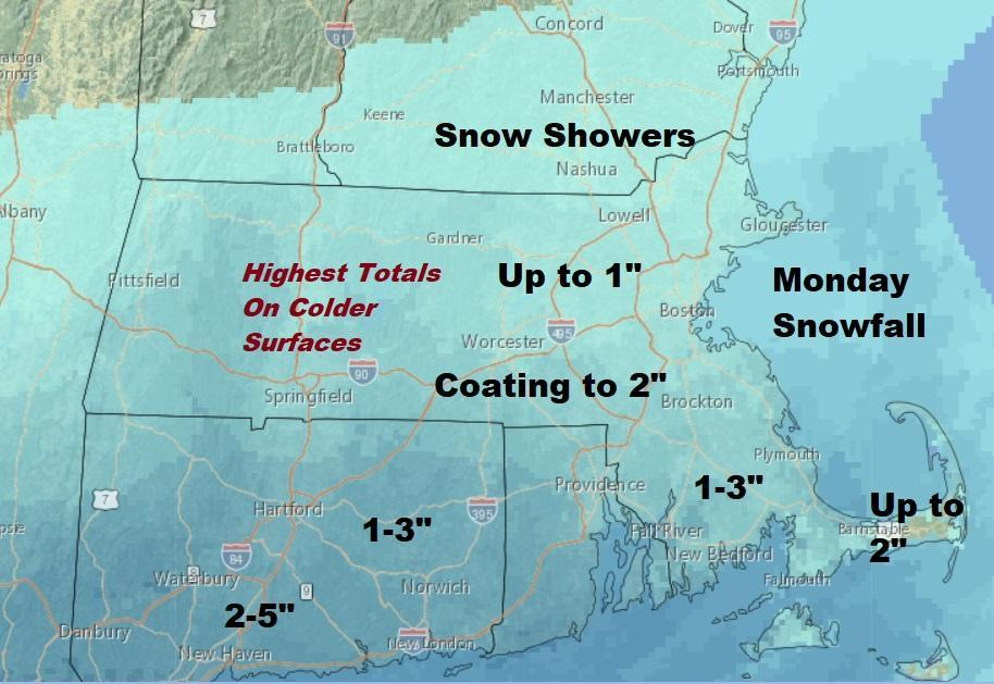 Forecast: 1-3 inches of snow expected Monday