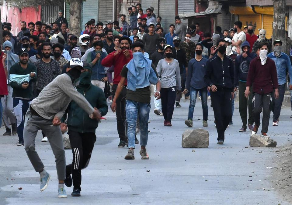 Kashmiri protesters clashed with Indian government forces Monday in Srinagar.