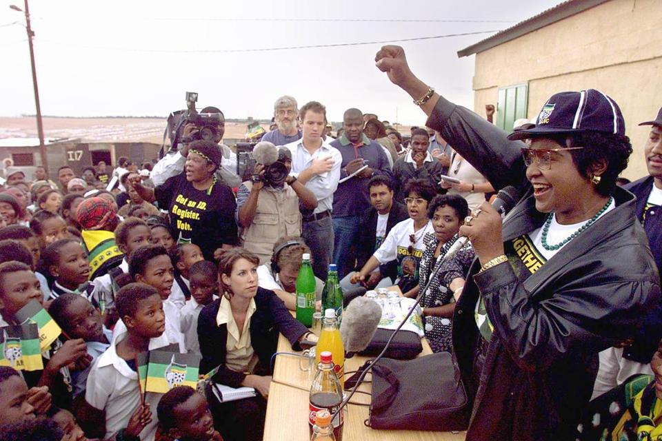 Winnie Madikizela Mandela greeted a crowd in the Olievenhoutbosch squattercamp near Centurion South Africa in 1999