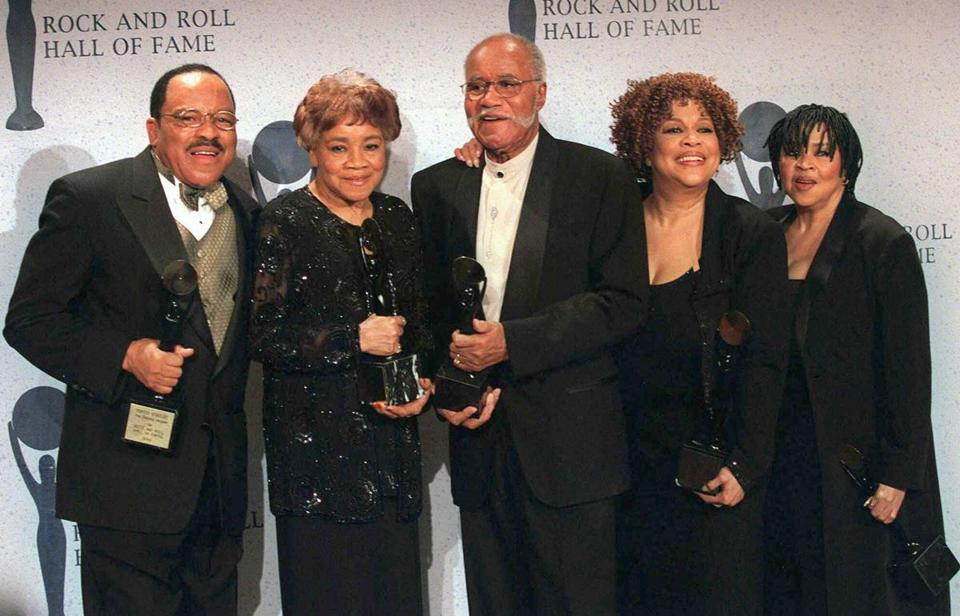 The Staple Singers (from left), Pervis, Cleotha, Pops, Mavis, and Yvonne, were inducted into the Rock and Roll Hall of Fame.