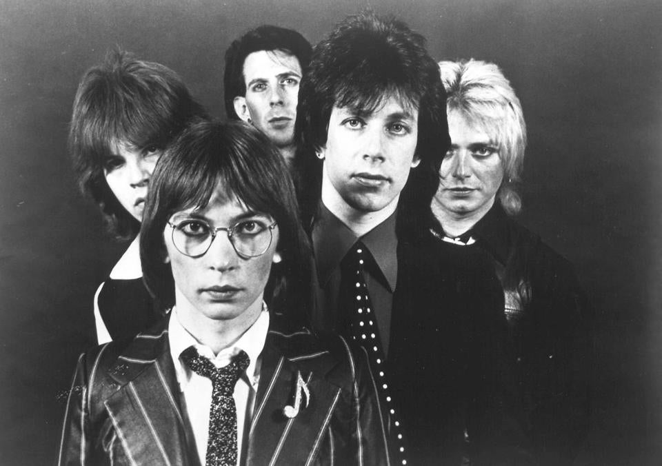 The Cars (from left: Elliot Easton, Greg Hawkes, Ric Ocasek, David Robinson, and Benjamin Orr, in an undated photo) will be inducted into the Rock and Roll Hall of Fame this weekend.