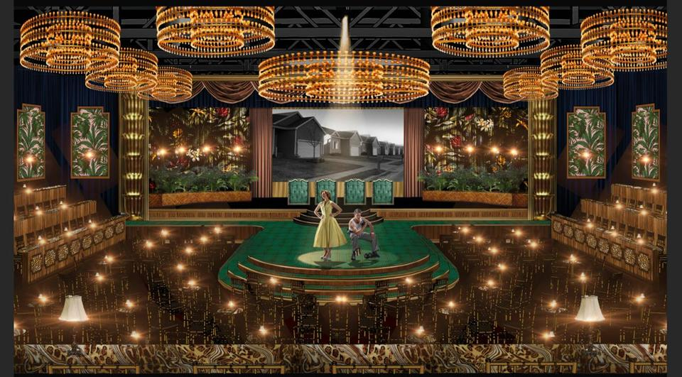 A designer's rendering of the North End skating rink transformed for Boston Lyric Opera's production.