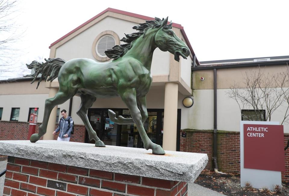 Newton MA 02/24/18 A statue of Mt. Ida's mascot a Mustang in front of the school's Athletic Center. (Matthew J. Lee/Globe staff) topic: reporter: